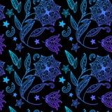 Fundo floral azul com ornamento indiano Ilustração Stock