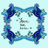 Fundo floral azul do quadro da garatuja bonito do vetor Imagens de Stock Royalty Free