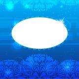 Fundo floral azul do vintage com quadro de texto Imagens de Stock Royalty Free