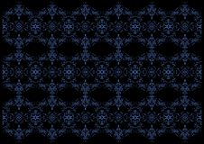 Fundo floral azul e preto Foto de Stock Royalty Free