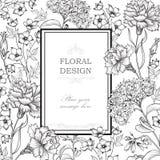 Fundo floral Beira do ramalhete da flor Tampa floral do vintage ilustração stock
