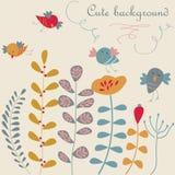 Fundo floral bonito com pássaros Fotografia de Stock Royalty Free