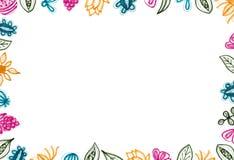 Fundo floral colorido com elementos tirados mão ilustração royalty free