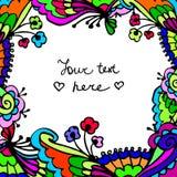 Fundo floral colorido do quadro da garatuja bonito do vetor Fotos de Stock