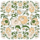 Fundo floral com as flores pintadas no estilo popular ilustração do vetor