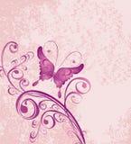 Fundo floral com borboleta Fotos de Stock Royalty Free