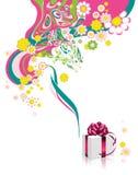 Fundo floral com caixa de presente. ilustração royalty free