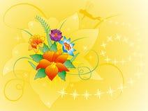 Fundo floral com duende da silhueta, vetor Imagens de Stock