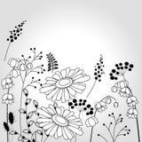 Fundo floral com flores estilizados Imagens de Stock Royalty Free