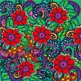 Fundo floral com flores vermelhas Fotos de Stock