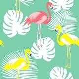 Fundo floral com folhas de palmeira tropicais, flamingo do teste padrão do verão do vetor sem emenda bonito, hibiscus Aperfeiçoe  fotografia de stock