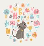 Fundo floral com gatos e pássaros Imagens de Stock