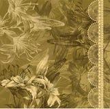Fundo floral com lírios e laço de florescência. H ilustração stock