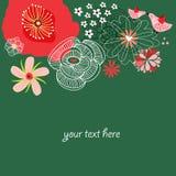 Fundo floral com os pássaros dos desenhos animados no amor ilustração do vetor