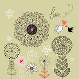 Fundo floral com os pássaros no amor Fotografia de Stock