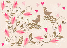 Fundo floral com os pássaros no vetor Imagem de Stock