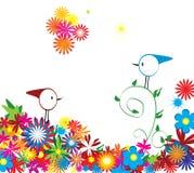 Fundo floral com pássaros ilustração do vetor