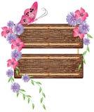 Fundo floral com textura de madeira Fotos de Stock Royalty Free