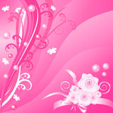 Fundo floral cor-de-rosa romântico do vetor com rosas ilustração royalty free