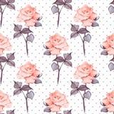 Fundo floral da aquarela Flores e às bolinhas 10 Imagens de Stock Royalty Free