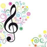 Fundo floral da música. ilustração stock