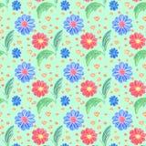 Fundo floral da mola Teste padr?o sem emenda Flor azul e vermelha no fundo verde ilustração stock