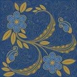 Fundo floral da sarja de Nimes Imagem de Stock Royalty Free