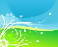 Fundo floral da terra do céu ilustração stock