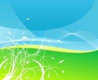 Fundo floral da terra do céu e da grama ilustração stock