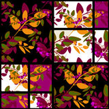 Fundo floral da textura do teste padrão do outono retro dos retalhos Fotos de Stock