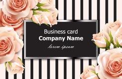 Fundo floral das rosas delicadas do vetor do cartão Decoração abstrata dos elementos designs florais 3d realísticos Imagens de Stock