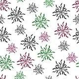 Fundo floral de cristais estilizados e de flocos de neve ilustração stock