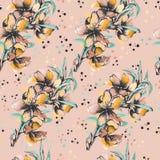 Fundo floral de flores delicadas da aquarela Para o projeto dos cart?es, telhas, fundamento, convites, cumprimentos e ilustração stock