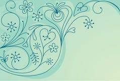 Fundo floral decorativo com corações Fotografia de Stock