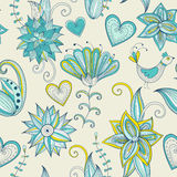 Fundo floral desenhado à mão colorido Teste padrão sem emenda Fotos de Stock