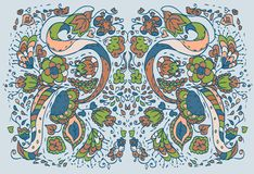 Fundo floral do azul do teste padrão Foto de Stock Royalty Free