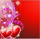Fundo floral do inverno com coração dois Foto de Stock Royalty Free