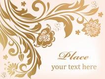 Fundo floral do ouro com flores decorativas Imagem de Stock Royalty Free