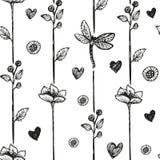 Fundo floral do sumário da libélula, sem emenda Ilustração do vetor ilustração stock