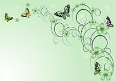 Fundo floral do vetor com borboletas Fotografia de Stock Royalty Free