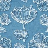 Fundo floral do vetor do papel azul ornamentado do entalhe Foto de Stock