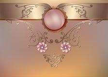 Fundo floral do vintage com pérolas e ornamento Imagens de Stock