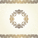 Fundo floral do vintage com quadro no ouro Fotos de Stock Royalty Free