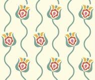 Fundo floral estilizado Teste padrão sem emenda retro Foto de Stock