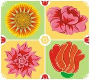 Fundo floral, jogo do ícone, vetor Fotografia de Stock Royalty Free