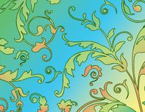 Fundo floral no azul e no verde ilustração do vetor