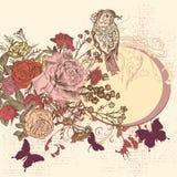 Fundo floral no estilo retro com flores Imagens de Stock