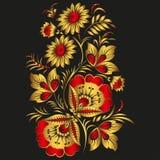 Fundo floral no estilo tradicional de Khokhloma do russo. Fotografia de Stock Royalty Free