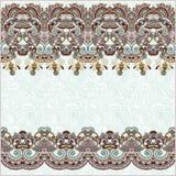 Fundo floral ornamentado com listra do ornamento Fotografia de Stock Royalty Free
