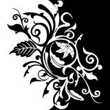 Fundo floral preto & branco Fotografia de Stock Royalty Free